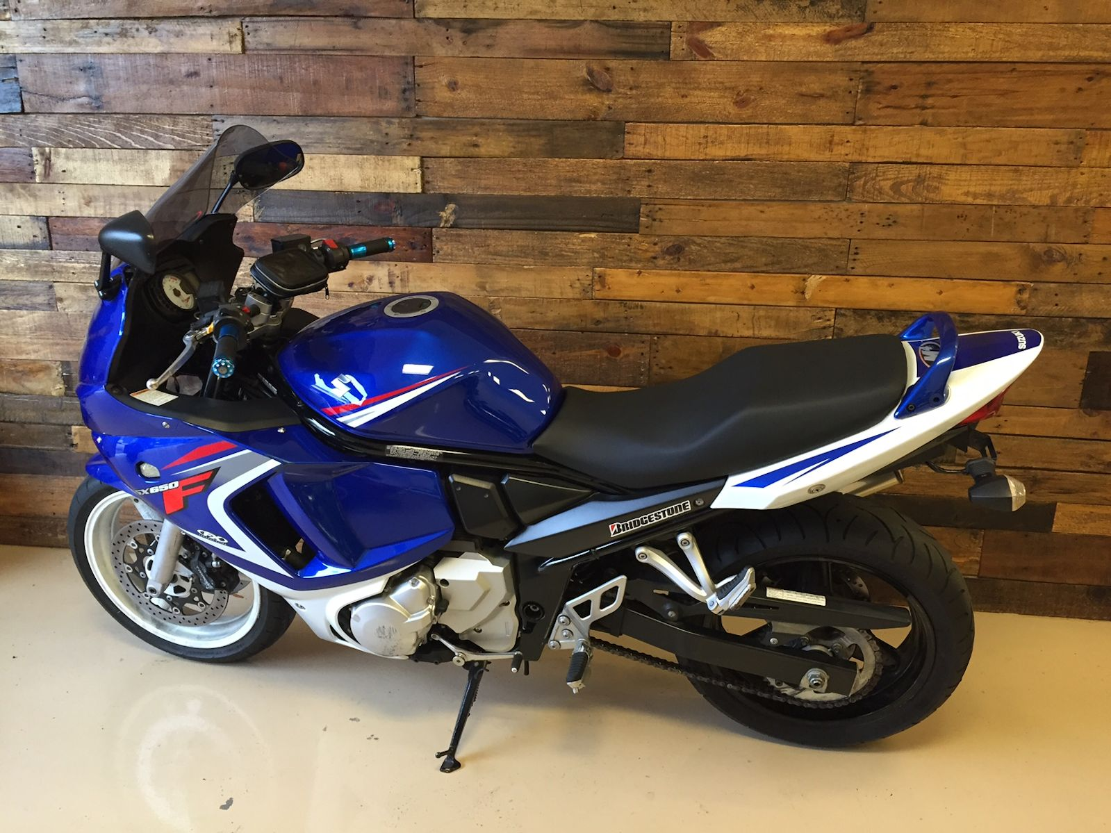 Sport Bike Blue White and Red